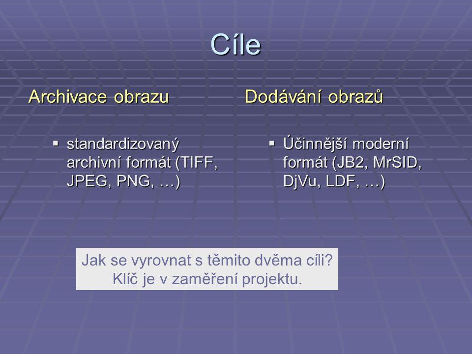 Cíle Archivace obrazu  standardizovaný archivní formát (TIFF, JPEG, PNG, …) Dodávání obrazů  Účinnější moderní formát (JB2, MrSID, DjVu, LDF, …) Jak se vyrovnat s těmito dvěma cíli.