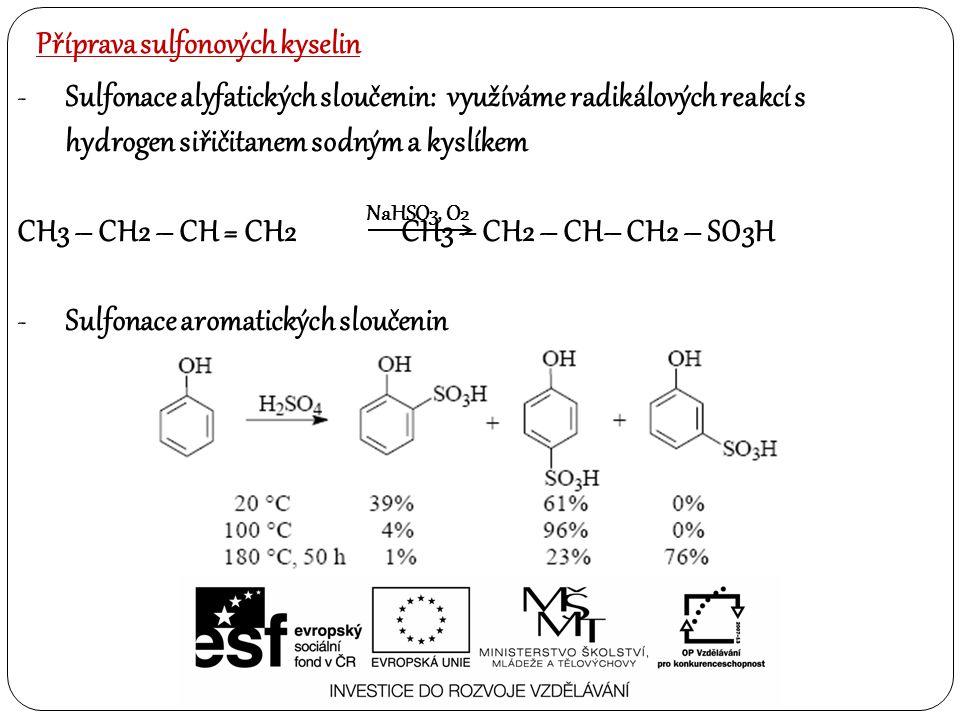 Příprava sulfonových kyselin -Sulfonace alyfatických sloučenin: využíváme radikálových reakcí s hydrogen siřičitanem sodným a kyslíkem CH3 – CH2 – CH = CH2CH3 – CH2 – CH– CH2 – SO3H -Sulfonace aromatických sloučenin NaHSO3, O2