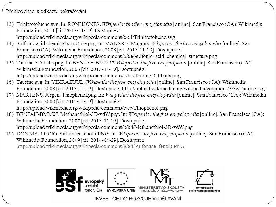 Přehled citací a odkazů: pokračování 13)Trinitrotoluene.svg. In: RONHJONES. Wikipedia: the free encyclopedia [online]. San Francisco (CA): Wikimedia F