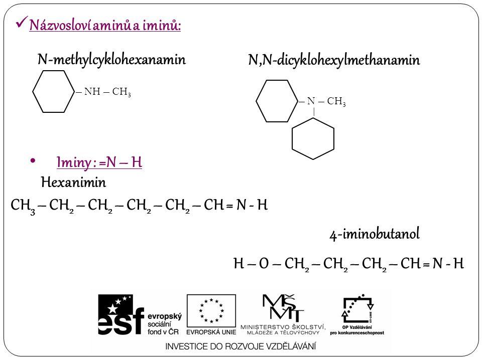 – NH – CH 3 N-methylcyklohexanamin – N – CH 3 – N,N-dicyklohexylmethanamin Iminy : =N – H Hexanimin CH 3 – CH 2 – CH 2 – CH 2 – CH 2 – CH = N - H H –
