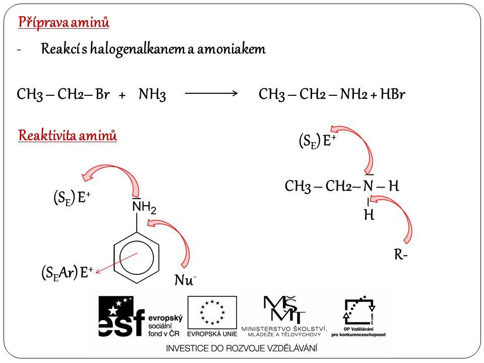 Příprava aminů -Reakcí s halogenalkanem a amoniakem CH3 – CH2– Br + NH3CH3 – CH2 – NH2 + HBr Reaktivita aminů CH3 – CH2– N – H – H – (S E ) E + R- (S E ) E + – Nu - (S E Ar) E +