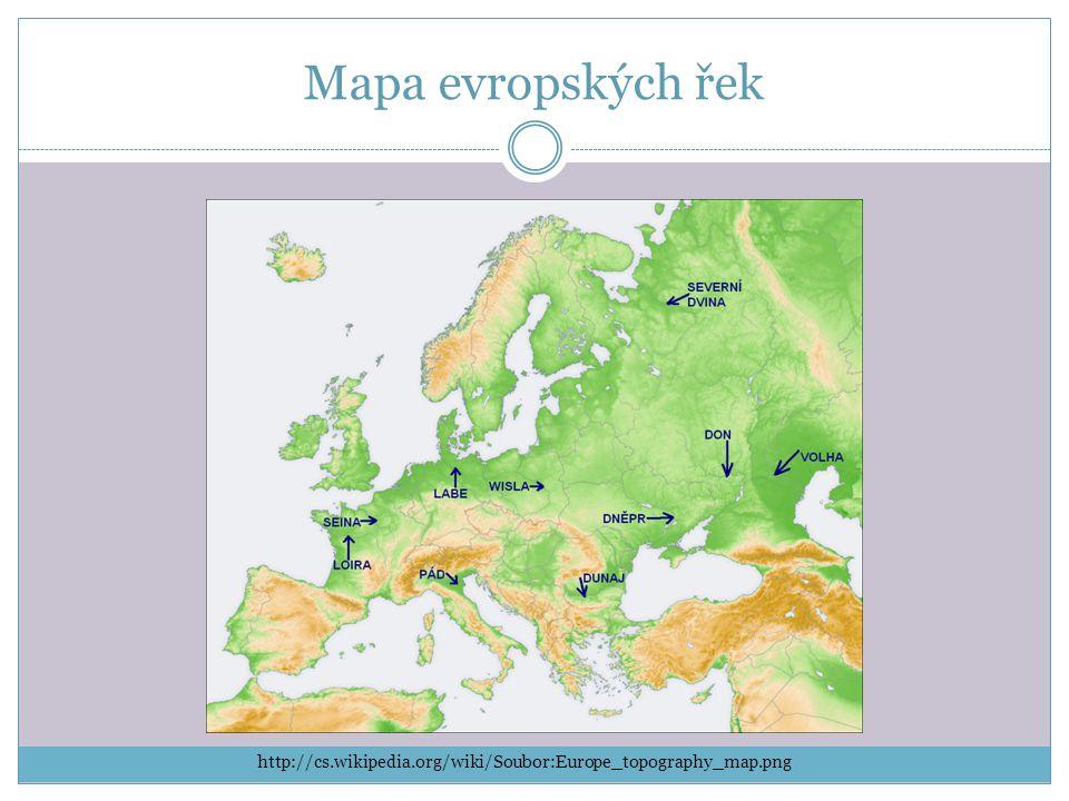 Mapa evropských řek http://cs.wikipedia.org/wiki/Soubor:Europe_topography_map.png