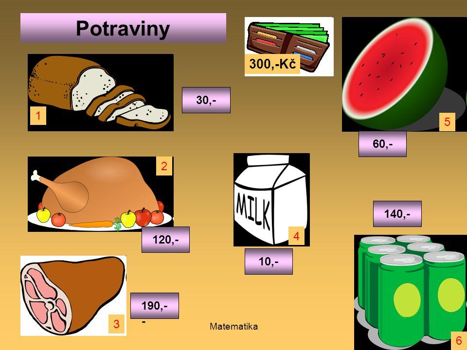 Ivana Myšáková 2011Matematika9 240,-160,-290,- 110, - 180,-270,- Potraviny 300,-Kč 30,- 140,- 60,- 10,- 120,- 190,- 1 6 5 4 3 2