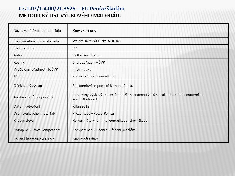 Název vzdělávacího materiáluKomunikátory Číslo vzdělávacího materiáluVY_12_INOVACE_32_6TR_INF Číslo šablonyI/2 AutorRyška David, Mgr.