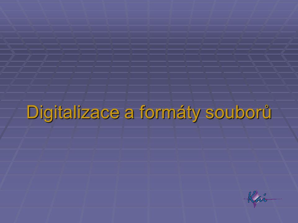 """Digitalizace  převod obrazu (z """"analogového světa) do digitální podoby  rozkouskování obrazu na dostatečně malé, dále nerozlišené pixely  převod barvy každého pixelu na – obvykle trojici RGB – čísel ve dvojkové soustavě  čím větší počet bitů, tím:  přesnější rozlišení barev  neznatelnější barevné přechody  větší objem dat na jeden obrázek  po digitalizaci možnost kopírování bez ztráty kvality"""