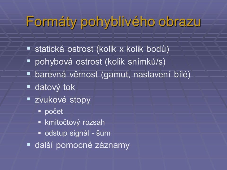 Formáty pohyblivého obrazu  statická ostrost (kolik x kolik bodů)  pohybová ostrost (kolik snímků/s)  barevná věrnost (gamut, nastavení bílé)  dat
