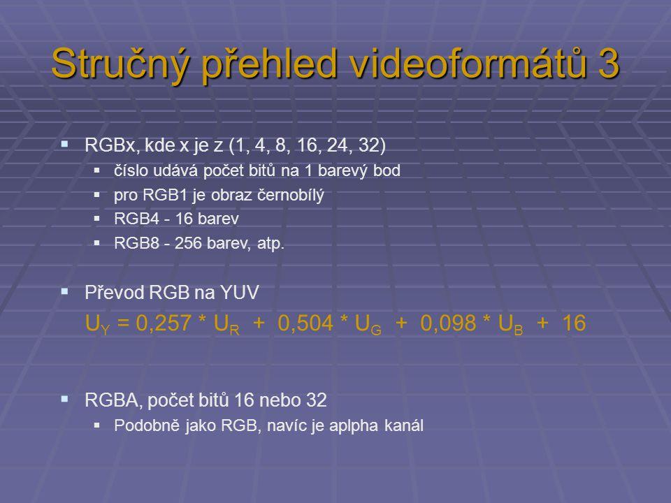 Stručný přehled videoformátů 3  RGBx, kde x je z (1, 4, 8, 16, 24, 32)  číslo udává počet bitů na 1 barevý bod  pro RGB1 je obraz černobílý  RGB4