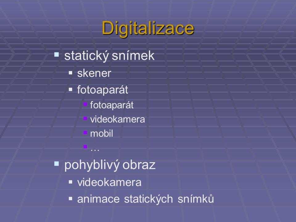 Digitalizace  statický snímek  skener  fotoaparát  videokamera  mobil  …  pohyblivý obraz  videokamera  animace statických snímků