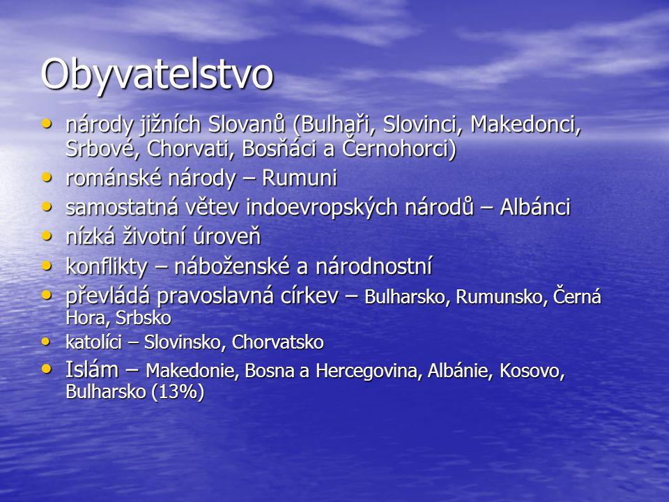 Obyvatelstvo národy jižních Slovanů (Bulhaři, Slovinci, Makedonci, Srbové, Chorvati, Bosňáci a Černohorci) národy jižních Slovanů (Bulhaři, Slovinci, Makedonci, Srbové, Chorvati, Bosňáci a Černohorci) románské národy – Rumuni románské národy – Rumuni samostatná větev indoevropských národů – Albánci samostatná větev indoevropských národů – Albánci nízká životní úroveň nízká životní úroveň konflikty – náboženské a národnostní konflikty – náboženské a národnostní převládá pravoslavná církev – Bulharsko, Rumunsko, Černá Hora, Srbsko převládá pravoslavná církev – Bulharsko, Rumunsko, Černá Hora, Srbsko katolíci – Slovinsko, Chorvatsko katolíci – Slovinsko, Chorvatsko Islám – Makedonie, Bosna a Hercegovina, Albánie, Kosovo, Bulharsko (13%) Islám – Makedonie, Bosna a Hercegovina, Albánie, Kosovo, Bulharsko (13%)