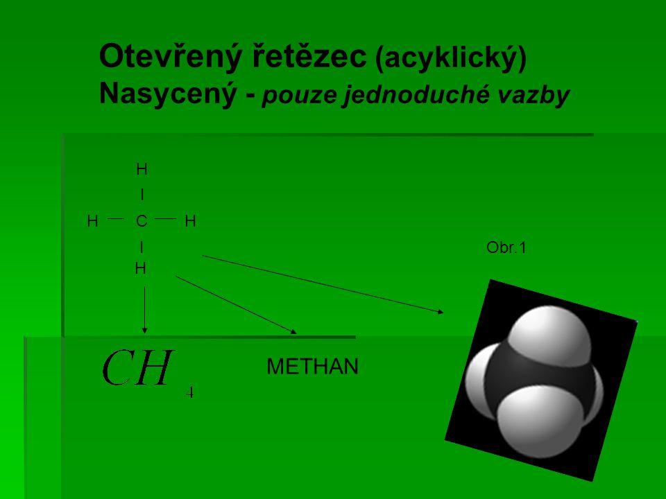 Otevřený řetězec (acyklický) Nasycený - pouze jednoduché vazby H I H C H I H METHAN Obr.1