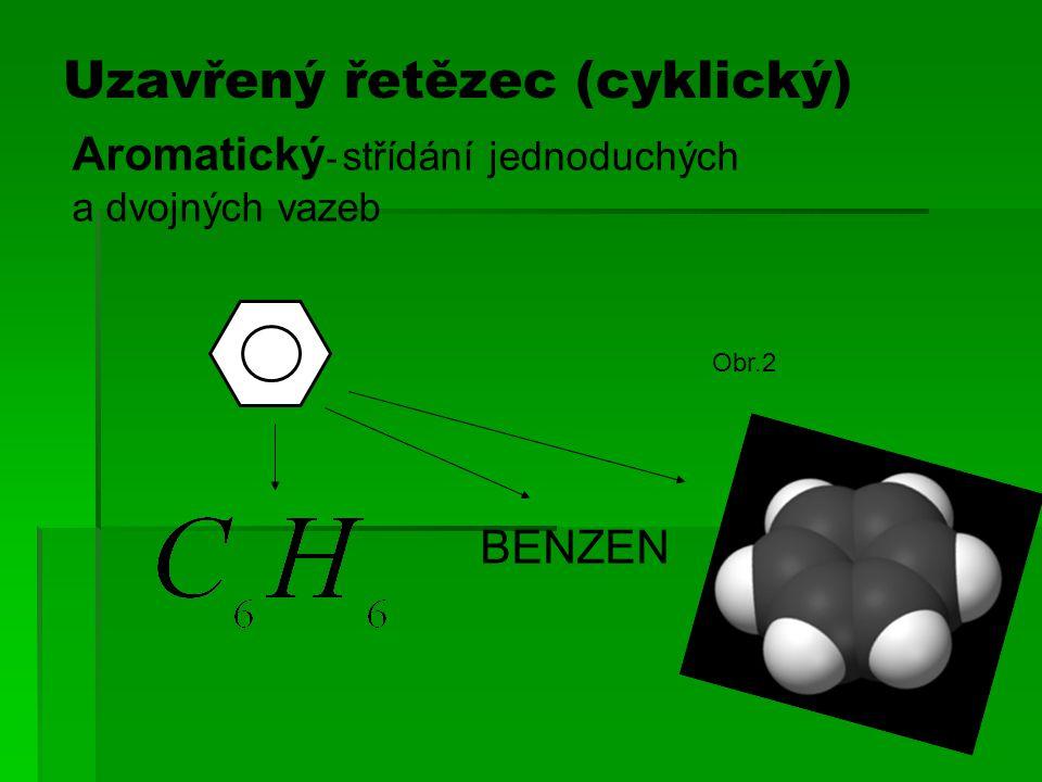 BENZEN Uzavřený řetězec (cyklický) Aromatický - střídání jednoduchých a dvojných vazeb Obr.2