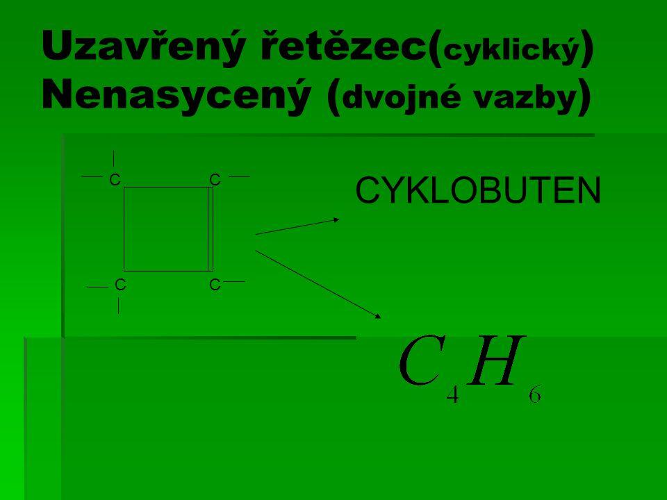 Uzavřený řetězec( cyklický ) Nenasycený ( dvojné vazby ) CC CC CYKLOBUTEN