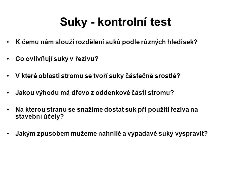 Suky - kontrolní test K čemu nám slouží rozdělení suků podle různých hledisek.