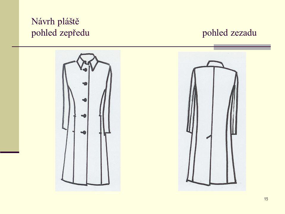 15 Návrh pláště pohled zepředu pohled zezadu