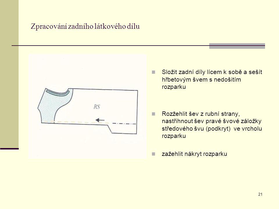 21 Zpracování zadního látkového dílu Složit zadní díly lícem k sobě a sešít hřbetovým švem s nedošitím rozparku Rozžehlit šev z rubní strany, nastřihn