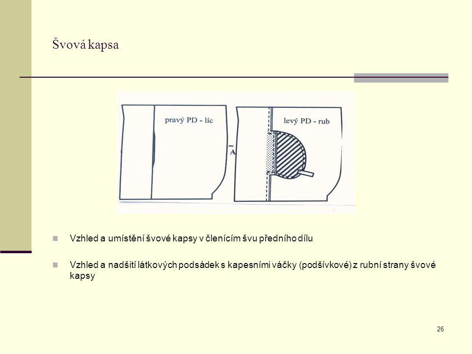 26 Švová kapsa Vzhled a umístění švové kapsy v členícím švu předního dílu Vzhled a nadšití látkových podsádek s kapesními váčky (podšívkové) z rubní strany švové kapsy