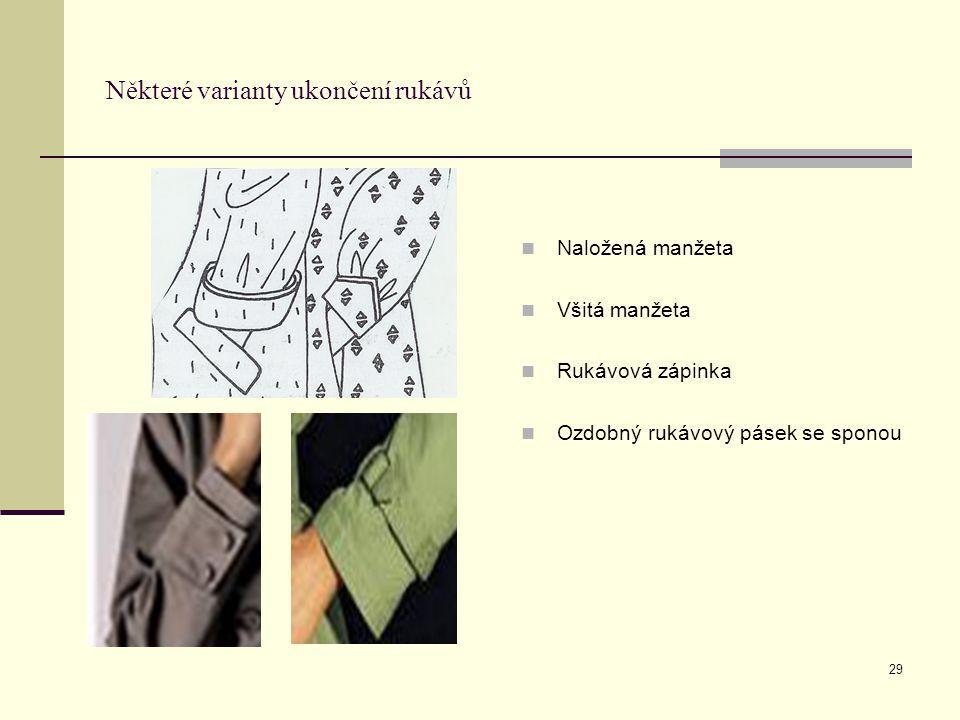 29 Některé varianty ukončení rukávů Naložená manžeta Všitá manžeta Rukávová zápinka Ozdobný rukávový pásek se sponou