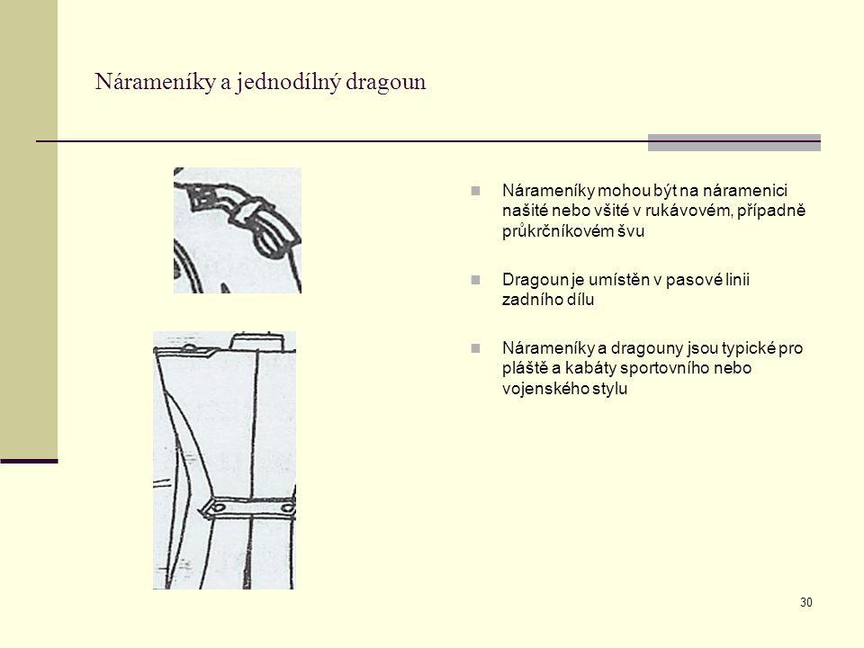 30 Nárameníky a jednodílný dragoun Nárameníky mohou být na náramenici našité nebo všité v rukávovém, případně průkrčníkovém švu Dragoun je umístěn v pasové linii zadního dílu Nárameníky a dragouny jsou typické pro pláště a kabáty sportovního nebo vojenského stylu