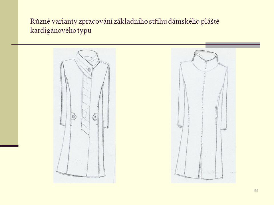 33 Různé varianty zpracování základního střihu dámského pláště kardigánového typu