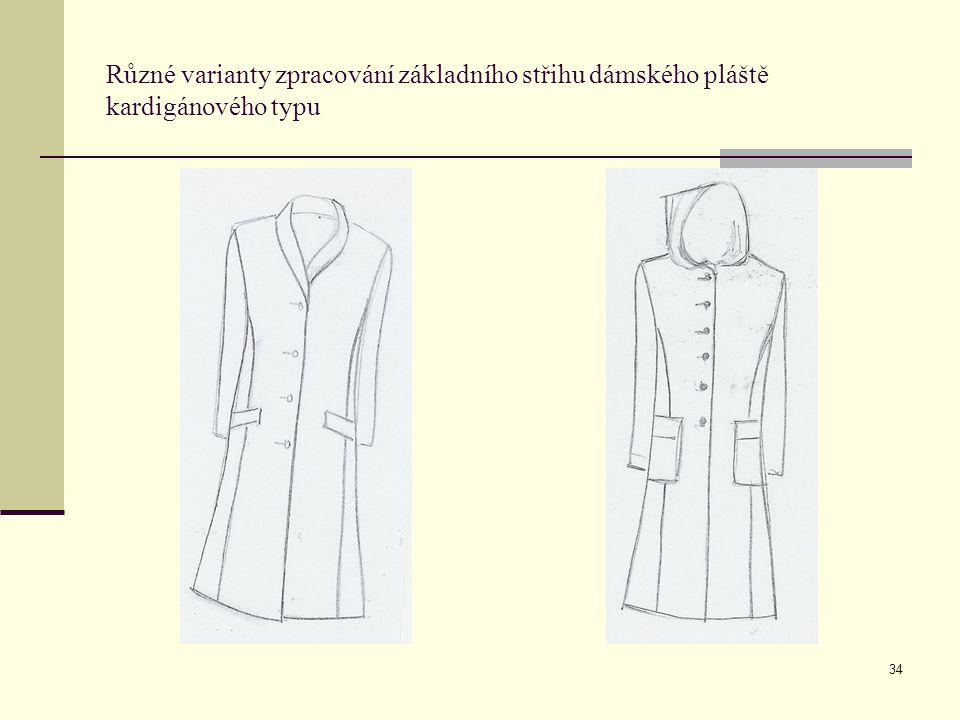 34 Různé varianty zpracování základního střihu dámského pláště kardigánového typu