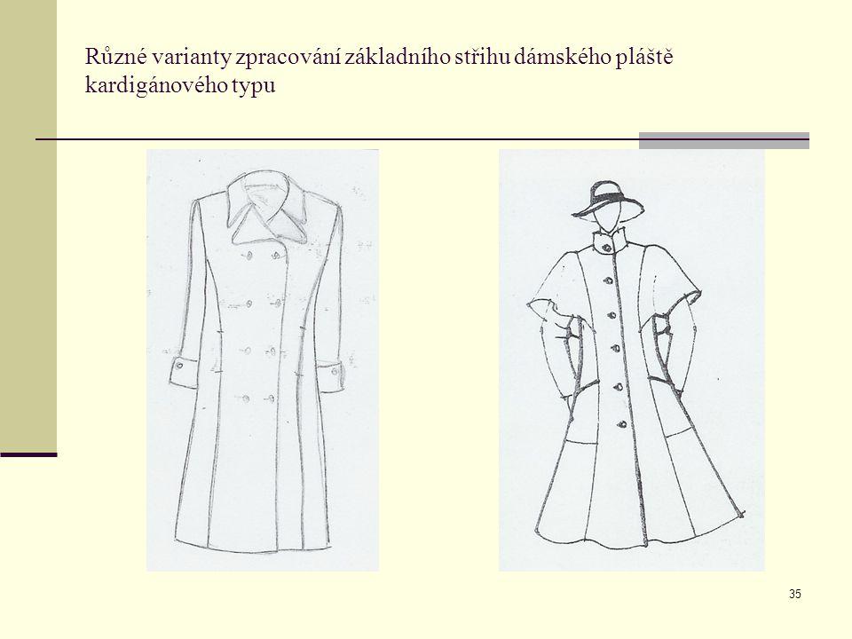 35 Různé varianty zpracování základního střihu dámského pláště kardigánového typu