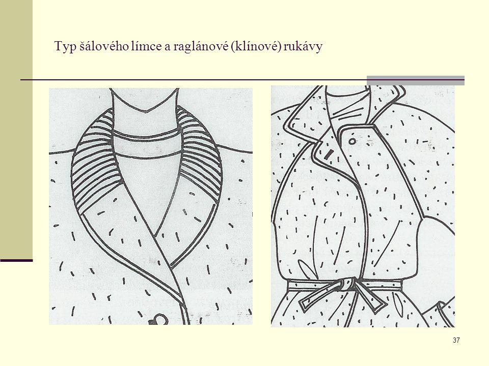 37 Typ šálového límce a raglánové (klínové) rukávy