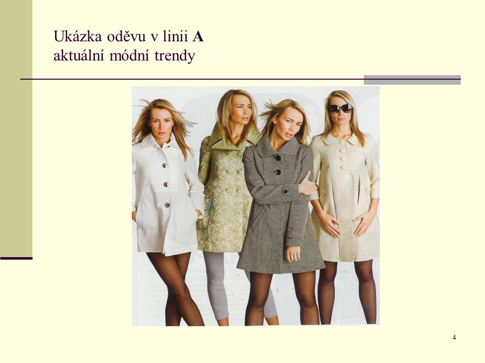 4 Ukázka oděvu v linii A aktuální módní trendy