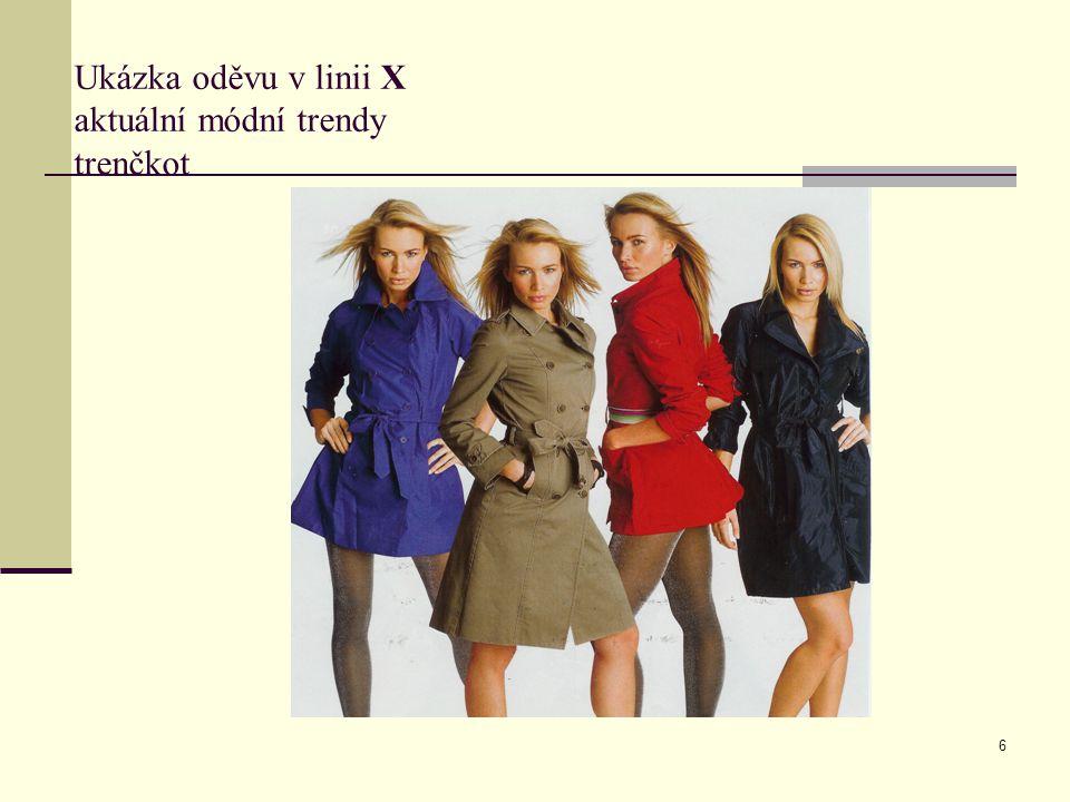 6 Ukázka oděvu v linii X aktuální módní trendy trenčkot