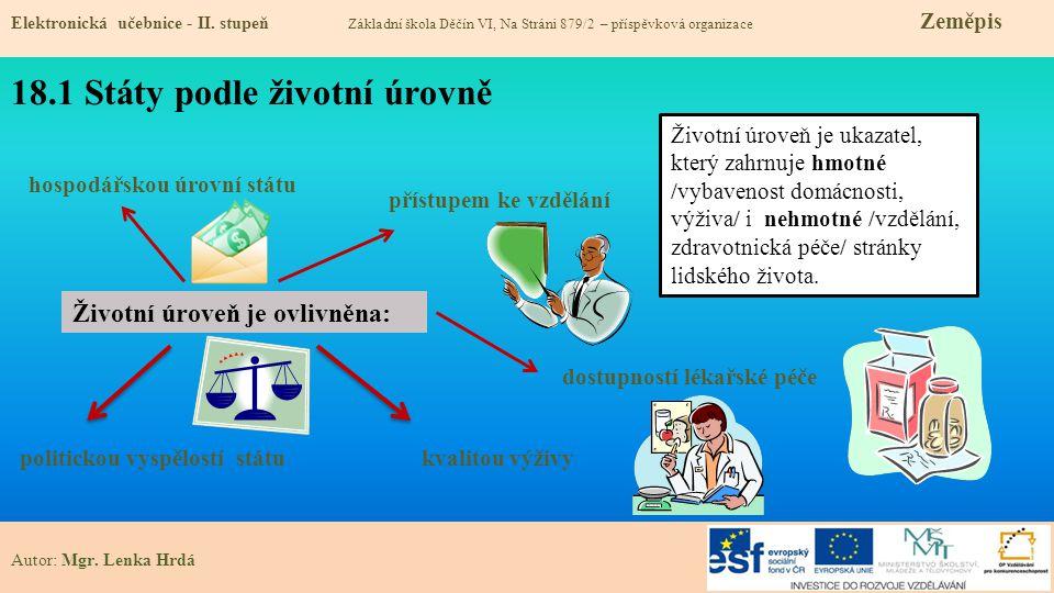 18.2 Hospodářská vyspělost států Elektronická učebnice - II.