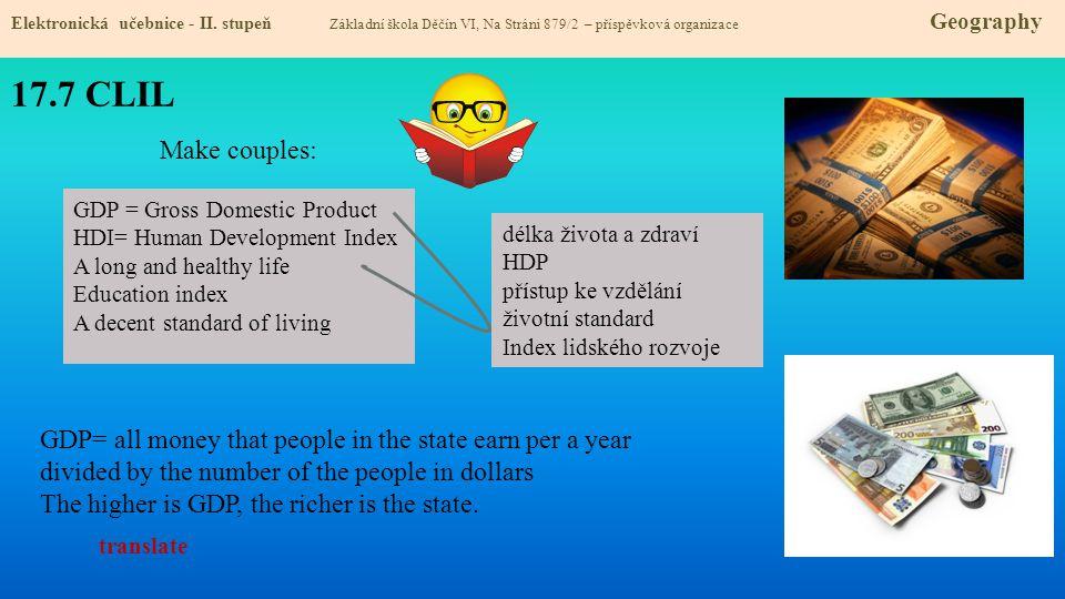17.7 CLIL Elektronická učebnice - II. stupeň Základní škola Děčín VI, Na Stráni 879/2 – příspěvková organizace Geography GDP = Gross Domestic Product