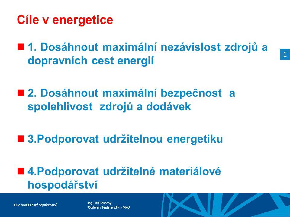 Ing. Jan Pokorný Oddělení teplárenství - MPO Quo Vadis České teplárenství 1