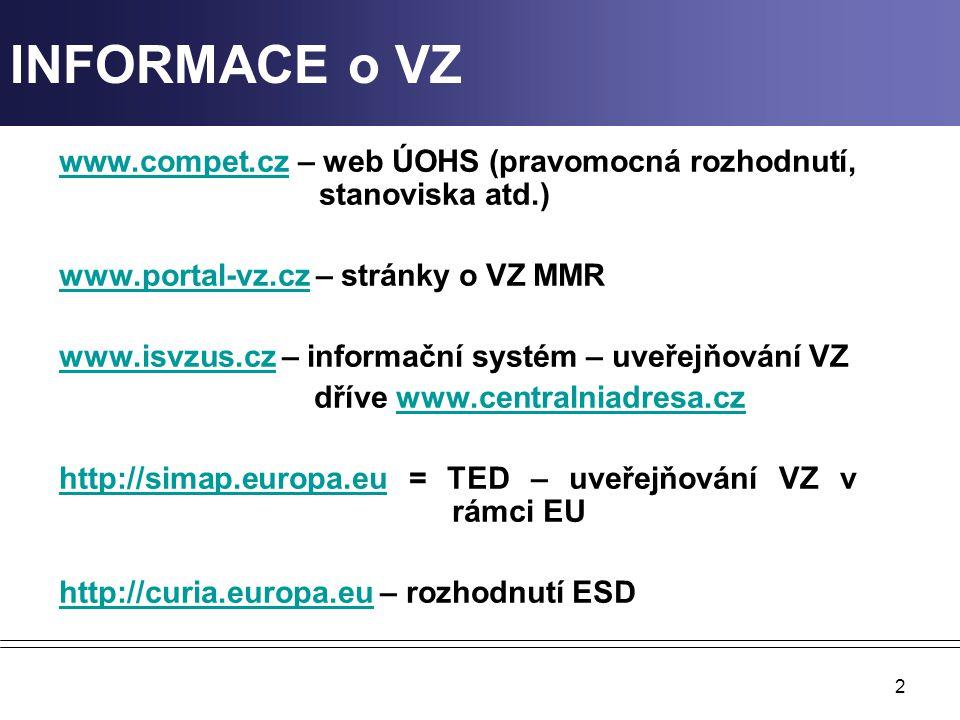 2 INFORMACE o VZ www.compet.czwww.compet.cz – web ÚOHS (pravomocná rozhodnutí, stanoviska atd.) www.portal-vz.czwww.portal-vz.cz – stránky o VZ MMR ww