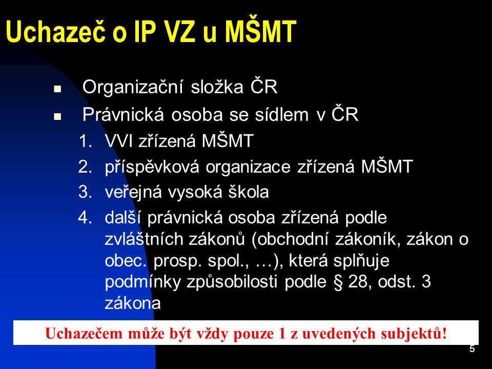 5 Uchazeč o IP VZ u MŠMT Organizační složka ČR Právnická osoba se sídlem v ČR 1.VVI zřízená MŠMT 2.příspěvková organizace zřízená MŠMT 3.veřejná vysok