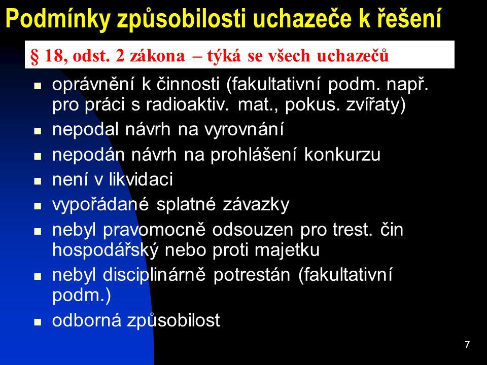 7 Podmínky způsobilosti uchazeče k řešení oprávnění k činnosti (fakultativní podm. např. pro práci s radioaktiv. mat., pokus. zvířaty) nepodal návrh n