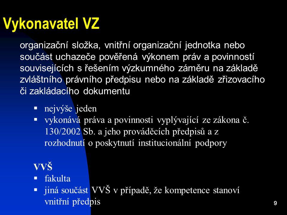 9 Vykonavatel VZ organizační složka, vnitřní organizační jednotka nebo součást uchazeče pověřená výkonem práv a povinností souvisejících s řešením výz