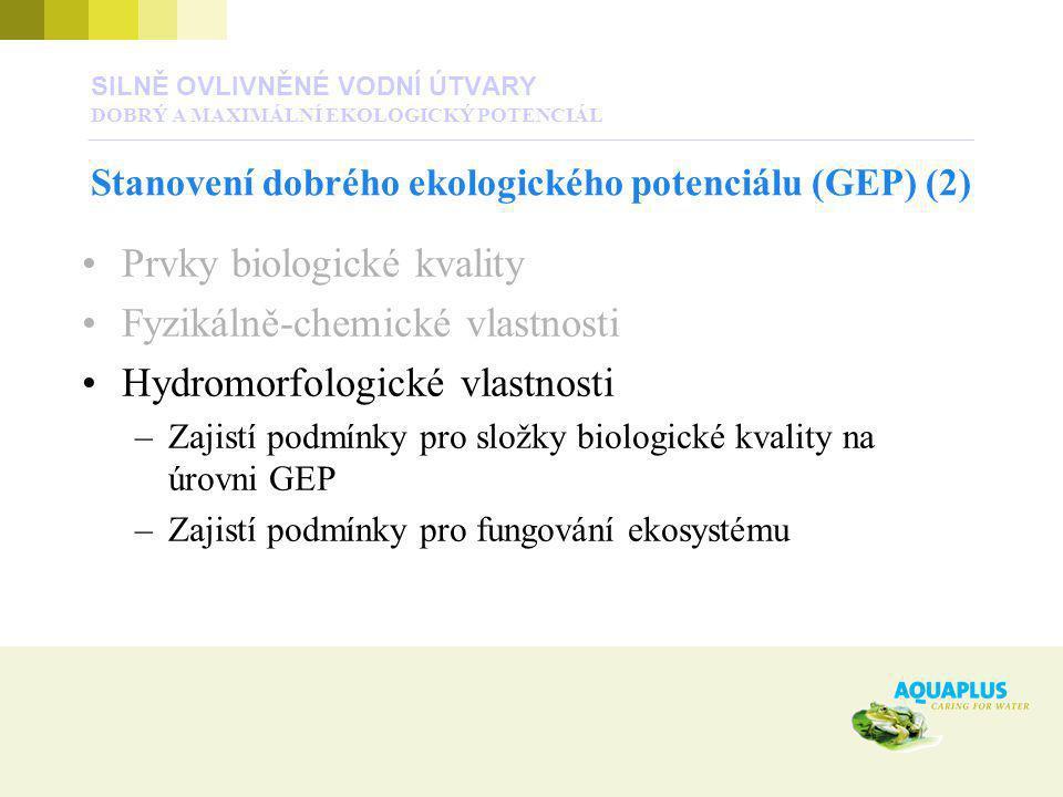 SILNĚ OVLIVNĚNÉ VODNÍ ÚTVARY DOBRÝ A MAXIMÁLNÍ EKOLOGICKÝ POTENCIÁL Stanovení dobrého ekologického potenciálu (GEP) (2) Prvky biologické kvality Fyzik