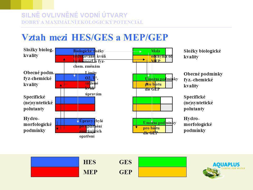 SILNĚ OVLIVNĚNÉ VODNÍ ÚTVARY DOBRÝ A MAXIMÁLNÍ EKOLOGICKÝ POTENCIÁL Vztah mezi HES/GES a MEP/GEP MEPGEP Složky biolog. kvality Obecné podm. fyz-chemic