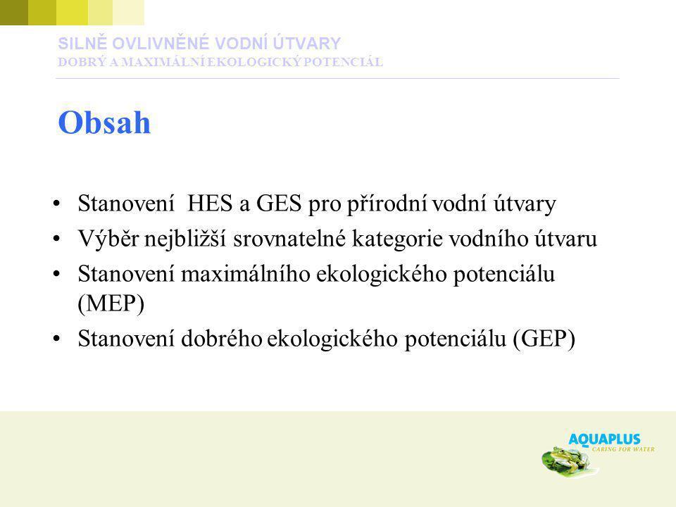 Stanovení HES a GES pro přírodní vodní útvary Výběr nejbližší srovnatelné kategorie vodního útvaru Stanovení maximálního ekologického potenciálu (MEP)
