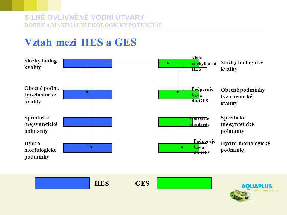 HESGES Složky biolog. kvality Obecné podm. fyz-chemické kvality Specifické (ne)syntetické polutanty Hydro- morfologické podmínky Složky biologické kva
