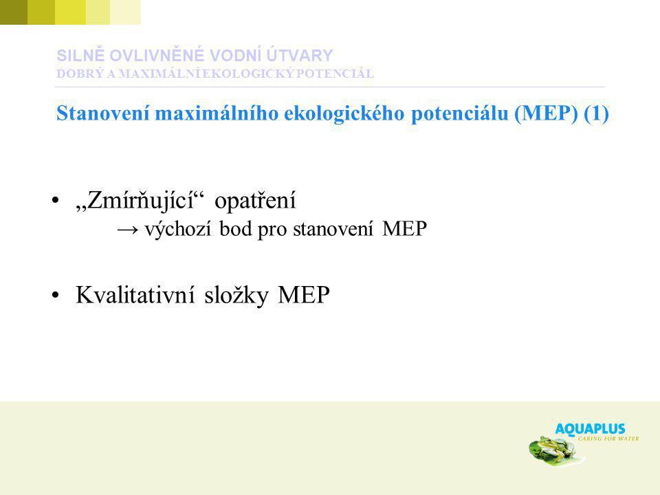 """""""Zmírňující"""" opatření → výchozí bod pro stanovení MEP Kvalitativní složky MEP SILNĚ OVLIVNĚNÉ VODNÍ ÚTVARY DOBRÝ A MAXIMÁLNÍ EKOLOGICKÝ POTENCIÁL Stan"""