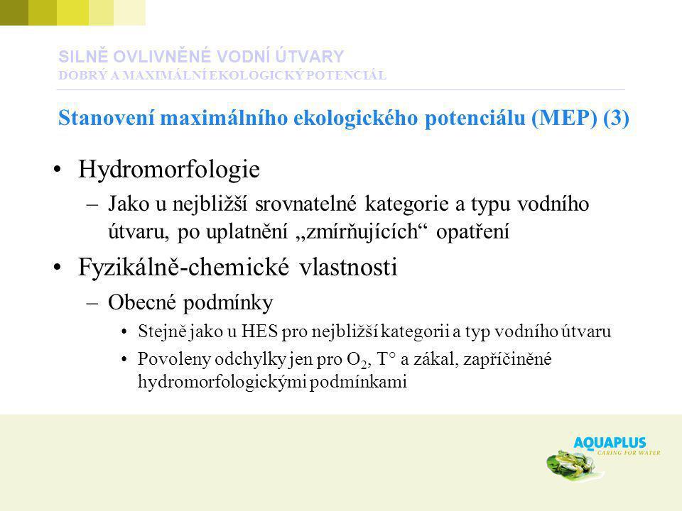"""Hydromorfologie –Jako u nejbližší srovnatelné kategorie a typu vodního útvaru, po uplatnění """"zmírňujících"""" opatření Fyzikálně-chemické vlastnosti –Obe"""