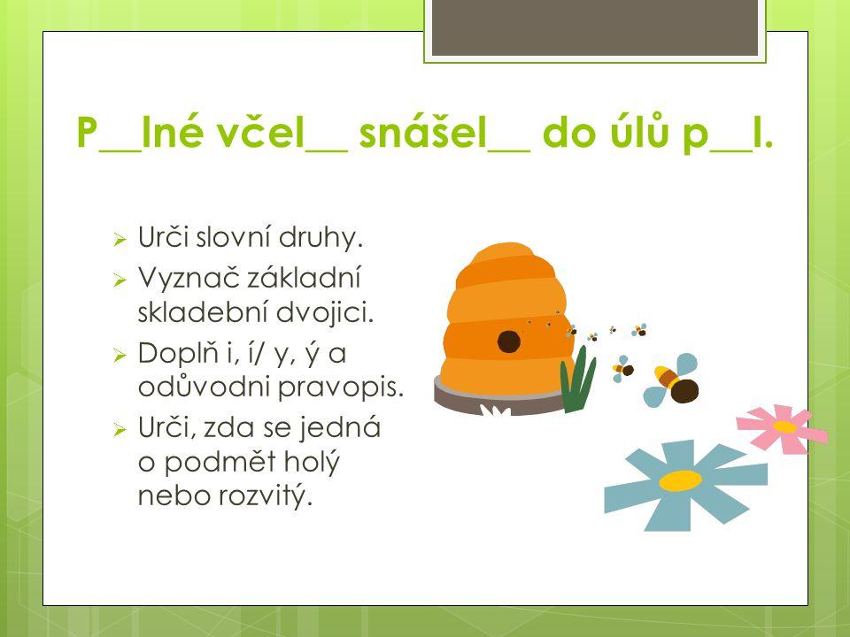 P__lné včel__ snášel__ do úlů p__l.  Urči slovní druhy.  Vyznač základní skladební dvojici.  Doplň i, í/ y, ý a odůvodni pravopis.  Urči, zda se j