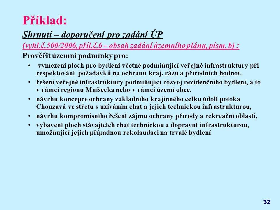 32 Příklad: Shrnutí – doporučení pro zadání ÚP (vyhl.č.500/2006, příl.č.6 – obsah zadání územního plánu, písm.
