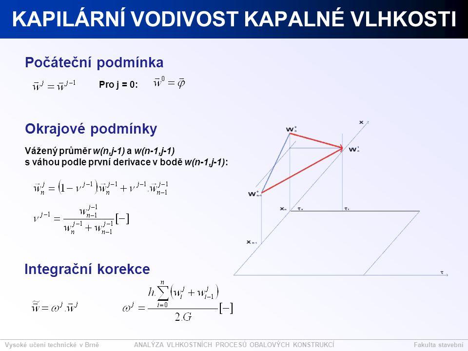 Vysoké učení technické v BrněFakulta stavebníANALÝZA VLHKOSTNÍCH PROCESŮ OBALOVÝCH KONSTRUKCÍ KAPILÁRNÍ VODIVOST KAPALNÉ VLHKOSTI Pro j = 0: Vážený průměr w(n,j-1) a w(n-1,j-1) s váhou podle první derivace v bodě w(n-1,j-1): Počáteční podmínka Okrajové podmínky Integrační korekce