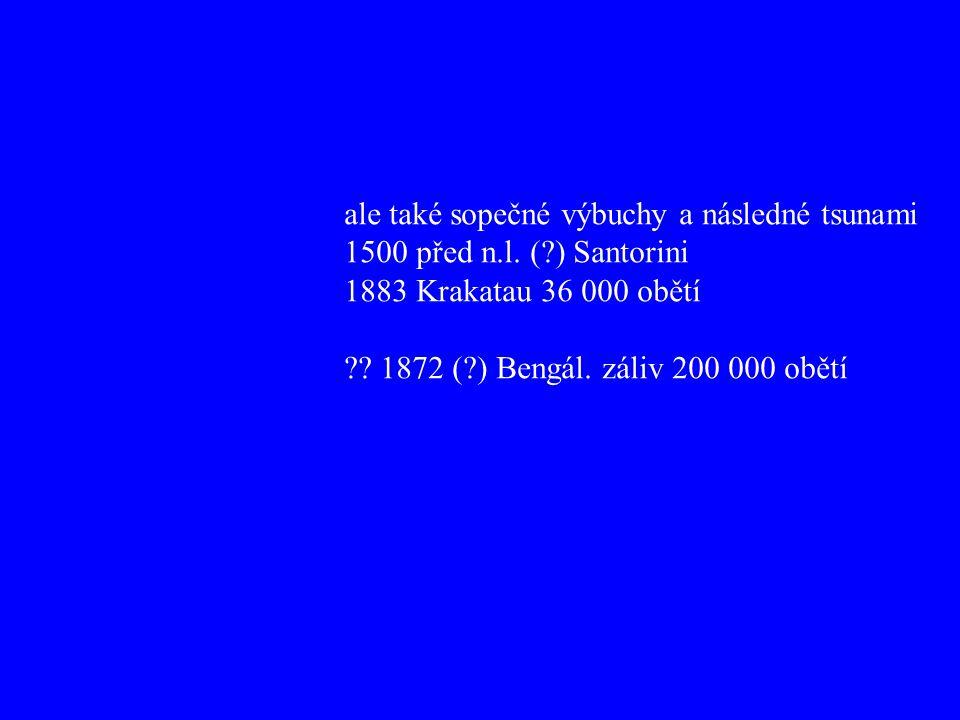ale také sopečné výbuchy a následné tsunami 1500 před n.l. (?) Santorini 1883 Krakatau 36 000 obětí ?? 1872 (?) Bengál. záliv 200 000 obětí
