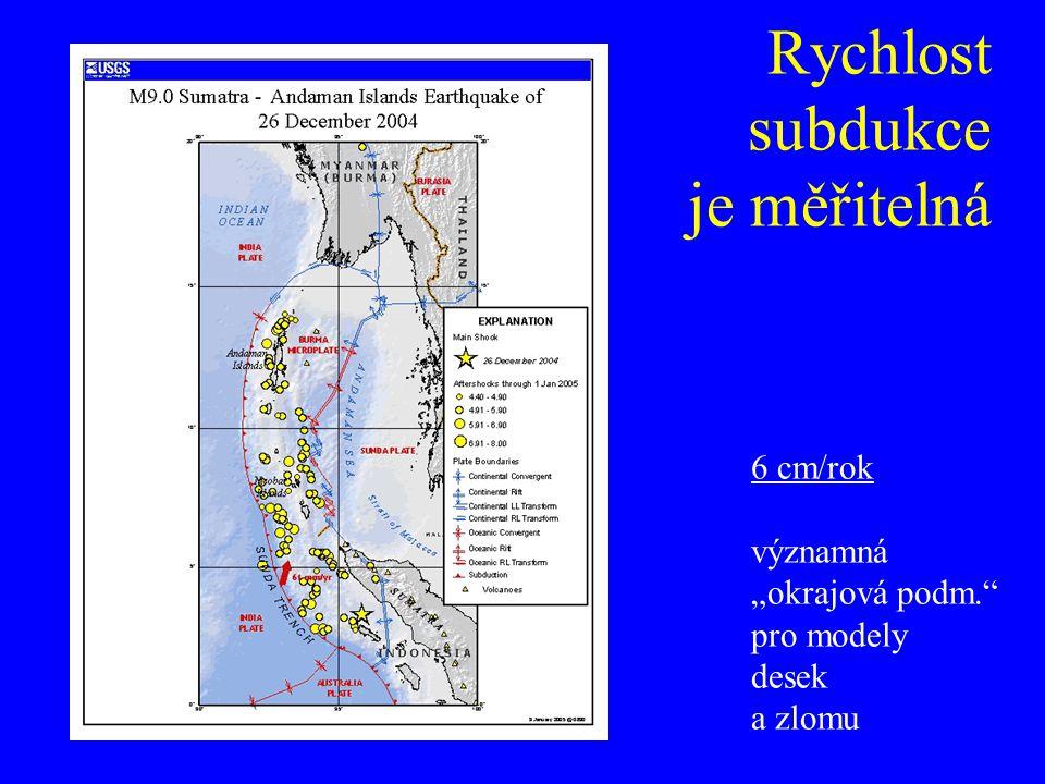"""Rychlost subdukce je měřitelná 6 cm/rok významná """"okrajová podm."""" pro modely desek a zlomu"""