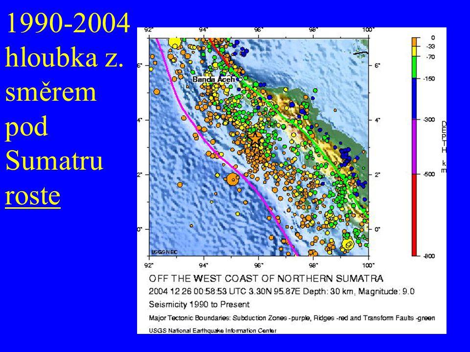 1990-2004 hloubka z. směrem pod Sumatru roste