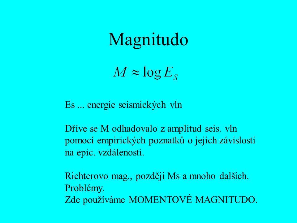Magnitudo Es... energie seismických vln Dříve se M odhadovalo z amplitud seis. vln pomocí empirických poznatků o jejich závislosti na epic. vzdálenost