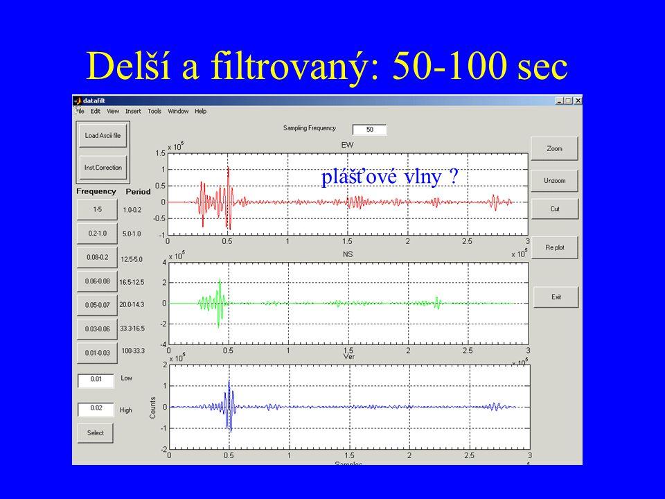 Delší a filtrovaný: 50-100 sec plášťové vlny ?