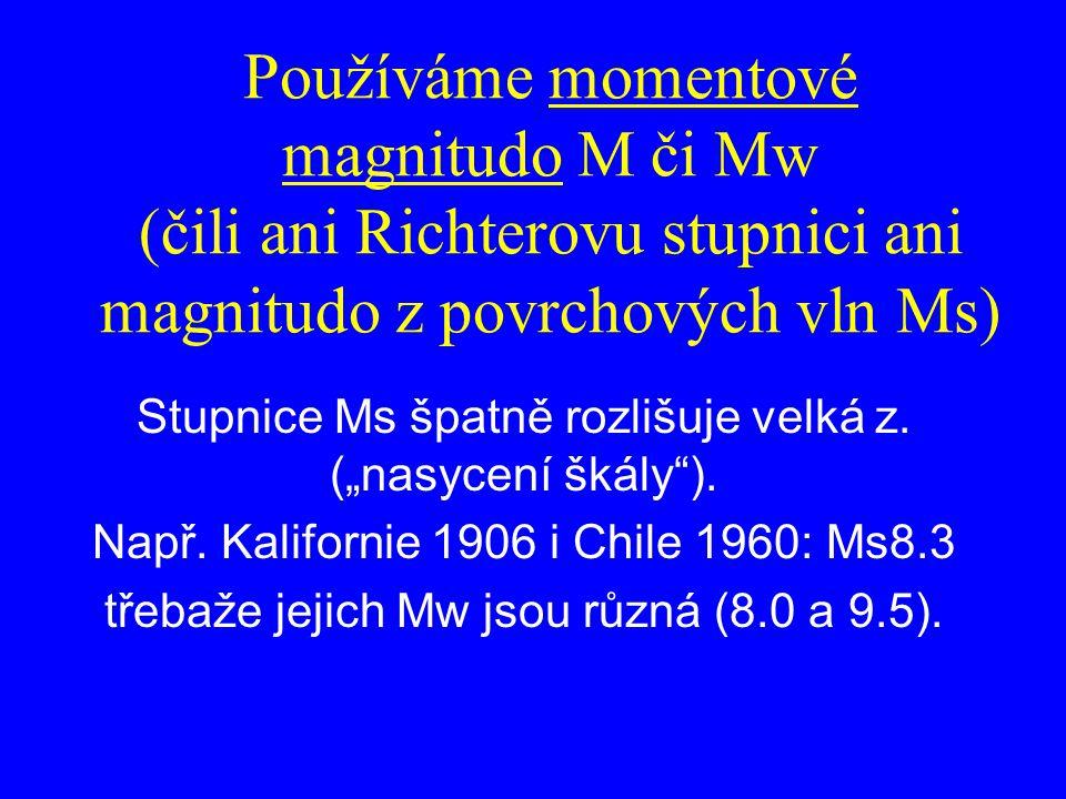 """Používáme momentové magnitudo M či Mw (čili ani Richterovu stupnici ani magnitudo z povrchových vln Ms) Stupnice Ms špatně rozlišuje velká z. (""""nasyce"""